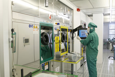 tiny sensors integrated into semiconductor chips, are produced in the micro-system technology laboratory and clean room