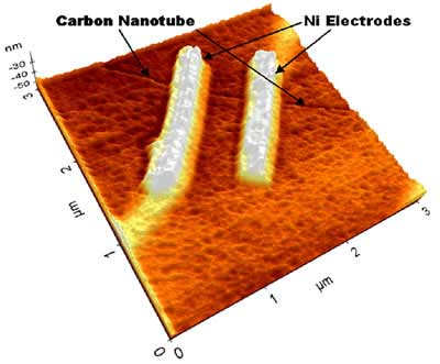 Nickel electrodes making contact with carbon nanotub