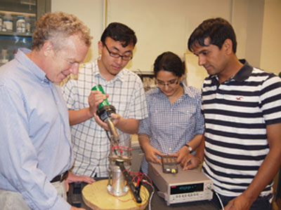 Pictured (from left) are aerospace engineering and mechanics professor Richard James, Ph.D. student Yintao Song and post-doctoral researchers Kanwal Bhatti and Vijay Srivastava