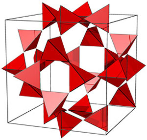 a portion of the net of tetrahedra in the tiling associated with the optimal lattice packing of octahedra