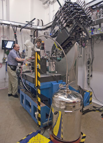 View inside the 11-BM-B beamline experiment station at Sector 11 of the APS