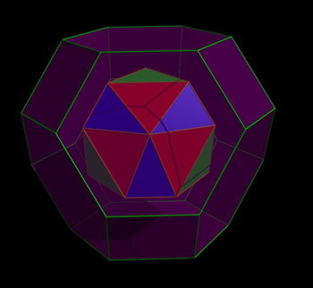 simplified representation of a compound (red, blue and green) nesting inside a single truncated octahedron