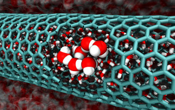 cutaway of a 2.0 nanometer-diameter carbon nanotube, revealing confined water molecules