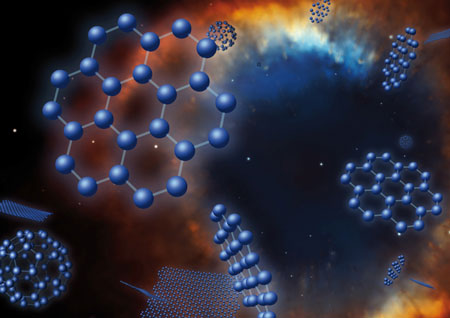 n artist's concept of graphene, buckyballs and C70 superimposed on an image of the Helix planetary nebula