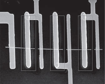 This scanning electron microscopy image shows three solar cells in series on a single nanowire with the core–shell regions outlined