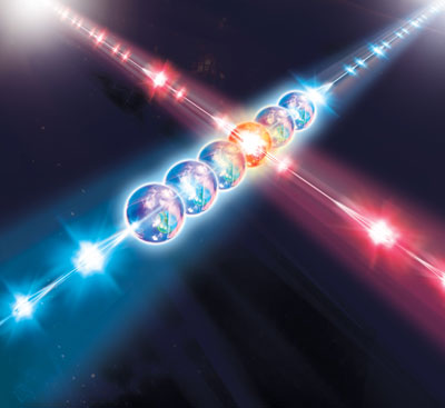 a series of laser pulses to perform a quantum calculation with atoms