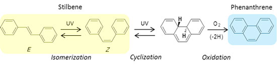 Photoisomerization and cyclization reaction of stilbene