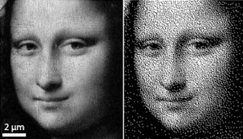 2D grayscale image of the Mona Lisa is converted into a 3D pattern
