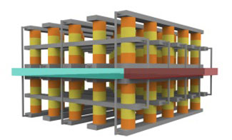 A schematic illustration of the stacked resistive memory structure for fast, durable resistance-change memory