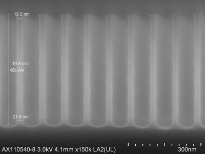 Cross-section SEM image of Si nano-pillars after plasma etch and mask strip