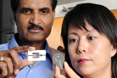 Krishna Naishadham, left, and Xiaojuan (Judy) Song display two types of wireless ammonia-sensing prototype devices