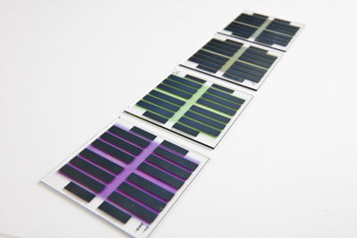 Organic solar cells on glass plates