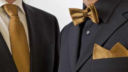 Tie, bow-tie and pocket handkerchief made of high-tech gold fabric