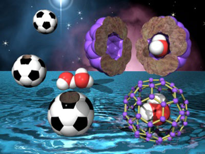 Illustration showing the trapping of a single water molecule in a fullerene cage