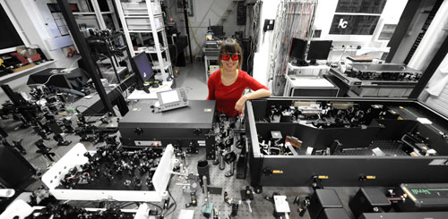 Joanna Oracz in her optical lab