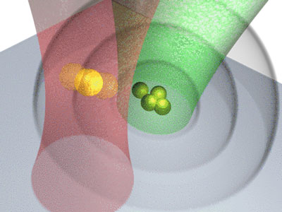 Trapped gold nanoparticle