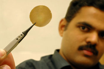 Dr. Nair with a graphene-based membrane