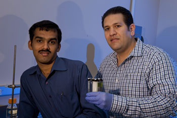 Rice University postdoctoral researcher Tharangattu Narayanan, left, and graduate student Jaime Taha-Tijerina