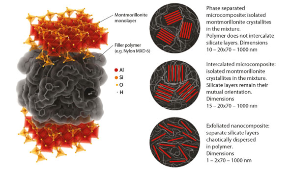 Polymer composite based on nanoclay