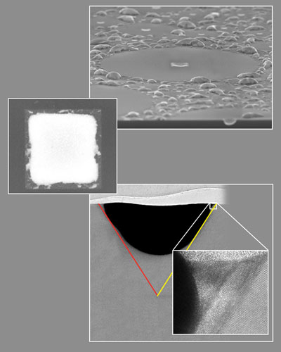 nanoscale crop circles on gold-silicon alloys