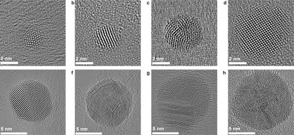 A series of electron micrographs of silver nanospheres of between two and ten nanometers in diameter