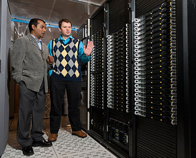 Postdoctoral researcher Kamal Saha, left, and Associate Prof. Branislav Nikolic with UD's high-speed Chimera computer