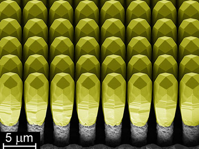 semiconductor structure: the yellow-coloured heads consist of monolithic germanium and the grey substrate is silicon