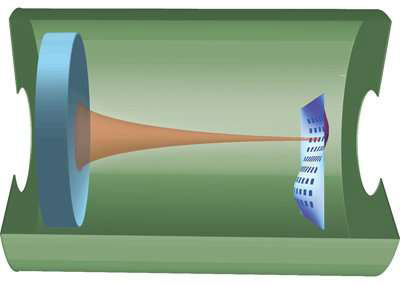 in this  optical cavity the laser light resonates between the fixed mirror on the left and a single grating on the membrane at right