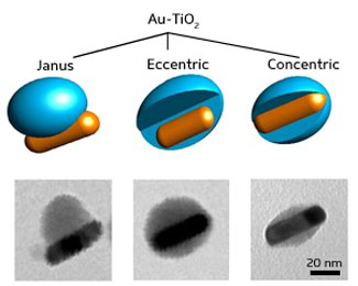 gold surface in Janus nanoparticle gold-titania hybrids