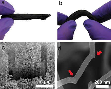 A carbon nanotube sponge holds potential as an aid for oil spill cleanup.