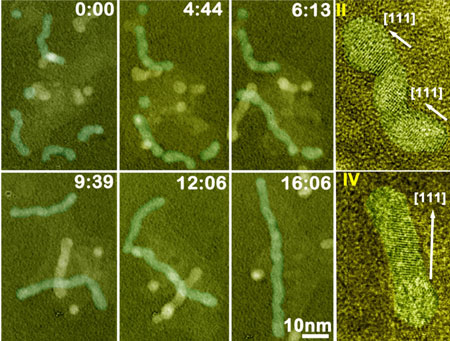 Sequential color TEM images showing the growth of Pt3Fe nanorods over time