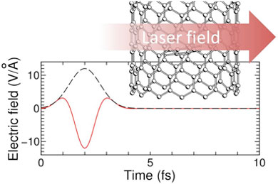 Pulse shape and polarization of the electric field of the laser irradiating CNT encapsulating acetylene