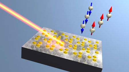 Electron Spins Separated on a Semiconductor Surface