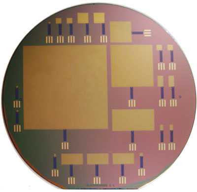 This silicon wafer consists of glucose fuel cells of varying sizes