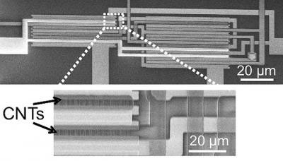 electron microscope image showing carbon nanotube transistors (CNTs) arranged in an integrated logic circuit