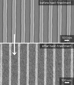nanoscale titania pattern before and after heat-treatment