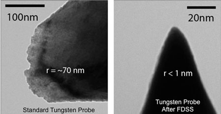 A traditionally etched tungsten STM probe, sharpened to a 1-nanometer point after bombarding it with ions