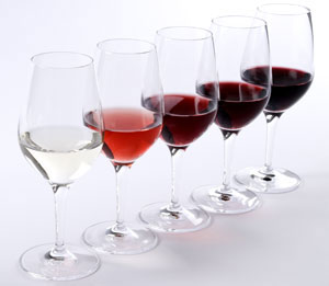 Range of wines in glasses