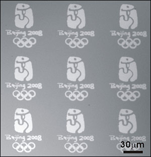 micro-sized Olympic logos