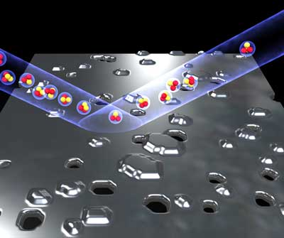 Quantum stabilized atom mirror which, despite small holes and islands, mostly has a smooth surface and is able to reflect an imaginary molecular beam