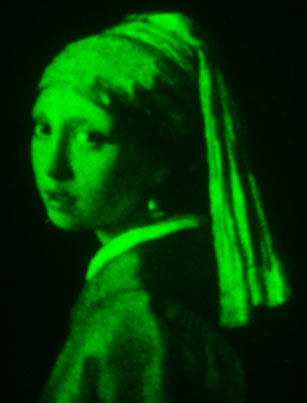 The protein patterning technique's flexibility and precision is shown in a fluorescent microscale version of 'Girl with a Pearl Earring'