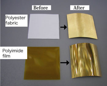 Appearances before and after the gold electroless plating on polyester fabric and polyimide film. & Environment-friendly gold plating with high adhesion to various ...