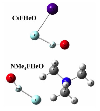Models of two hypothetical species containing helium chemically bound to oxygen