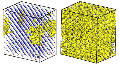 Isosurface plots (yellow) show the electron wavefunction squares for the bottom of the conduction band (left) and the top of the oxygen-induced band (right)