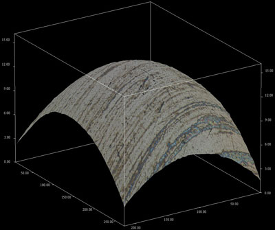 3D topography of a roller bearing sphere for wear assessment