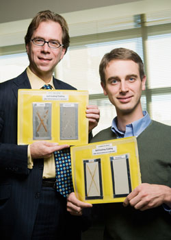 Illinois researchers Paul Braun, right, and Scott White have created self-healing coatings that automatically repair themselves and prevent corrosion of the underlying substrate