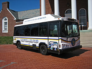 This hydrogen fuel cell powered bus is part of the University of Delaware's shuttle fleet