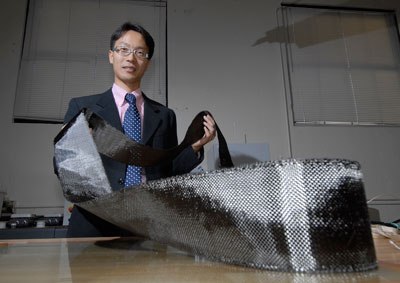 Jonghwan Suhr envisions using the pliable manufactured nanocomposites to allow airplanes and aerospace vehicles to cut through the air more efficiently, saving fuel
