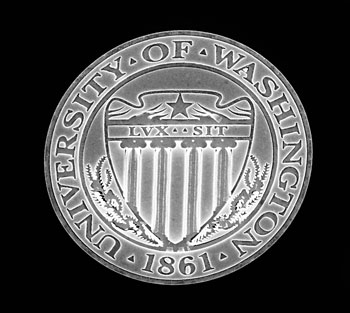 An etching of the University of Washington seal made using a JEOL electron beam lithography machine at Cornell University. Around 100 of these seals would fit on the end of a human hair.