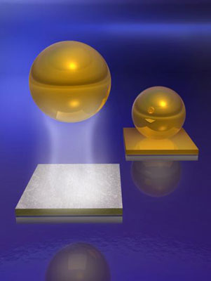 This is an artist's rendition of how the repulsive Casimir-Lifshitz force between suitable materials in a fluid can be used to quantum mechanically levitate a small object of density greater than the liquid